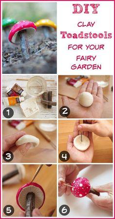 DIY clay toadstool for your fairy garden tutorial