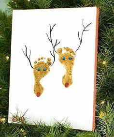 weihnachtskarten basteln weihnachtsbastelideen farbideen füße weihnachtshirsche