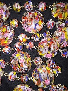 "Long 37"" Venetian Murano Art Deco Glass Bead Necklace W/Aventurine & Pink Roses"