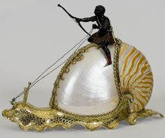 Snail with Nautilus Shell. Nautilus shell, silver gilt, c. Goldscheider, Sarotti Mohr, Nautilus Shell, Antique Show, Wood Painting Art, Stone Painting, Bohemian Style Bedrooms, Blue Pictures, Gothic Accessories