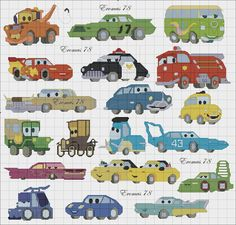 Cars Collage 1 of 2 Eromas 78 Disney Cross Stitch Kits, Cross Stitch For Kids, Mini Cross Stitch, Cross Stitch Borders, Cross Stitch Charts, Cross Stitching, Cross Stitch Embroidery, Pixel Crochet Blanket, Crochet Quilt