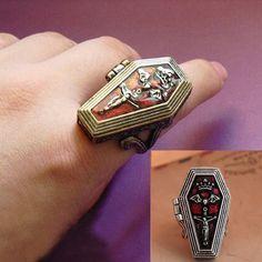 Encontrar Más Anillos Información acerca de Retro Vampire joyero ataúd anillo esmalte Vintage Crown Bat anillo del dedo cruz para para la joyería Unisex SJZ124, alta calidad anillo de durex, China anillo de la correa Proveedores, barato anillo mordedor de Best fashion !!! en Aliexpress.com