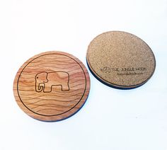 Set of 4 elephant coasters  wooden cherry by thejunglehook on Etsy