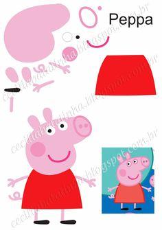 : Na přání - Formy Peppa Pig a jemu podobní Molde Peppa Pig, Bolo Da Peppa Pig, Cumple Peppa Pig, Pig Crafts, Felt Crafts, Crafts For Kids, Pig Birthday, 4th Birthday Parties, Peppa E George