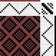 diamonds with plain weave centers   8-shaft, 8-treadle