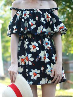 Multi Floral Falbala Off Shoulder Dress - Fashion Clothing, Latest Street Fashion At Abaday.com