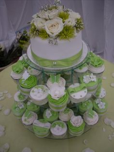 Lime Green and White Wedding Cake