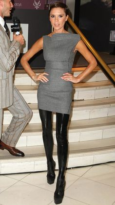 Sporting a directional look (notice the heel-less, thigh-high boots?) to her…