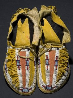 Southern Cheyenne Child's Beaded Hide Moccasins