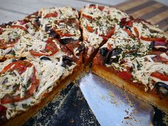 Recipe: Greek-Style Pizza with Roasted Red Pepper Sauce and a Lemon ...