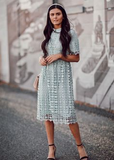 Lace Skirt, Lace Dress, Long Sleeve Lace Gown, Nice Dresses, Short Dresses, Sequin Midi Dress, Summer Outfits, High Neck Dress, Gowns