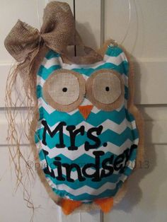 Owl Burlap Door Hanger Chevron Pattern by nursejeanneg on Etsy, $32.00