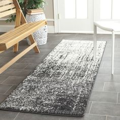 Safavieh Retro Black and Light Grey Runner (2'3 x 13') | Overstock.com Shopping - The Best Deals on Runner Rugs