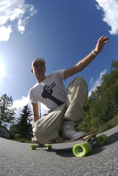 Male Longboarder low angle