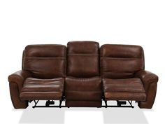 Nailhead-Accented Leather Power Reclining Sofa in Brown | Mathis Brothers Furniture Living Room Seating, Living Room Furniture, Genuine Leather Sofa, Power Recliners, Leather Recliner, Reclining Sofa, Upholstered Chairs, Sectional Sofa, Seat Cushions