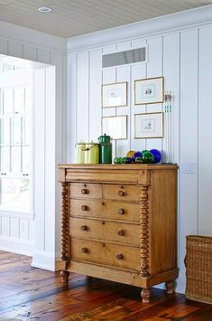 Love this gorgeous wood dresser. Beach House, Designed by Sarah Richardson Design: Natalie Hodgins & Kate Stuart Decor, Furniture, Interior, Beach House Interior, Cottage Decor, Beach Cottages, Home Decor, Sarah Richardson Design, Beach House Bedroom