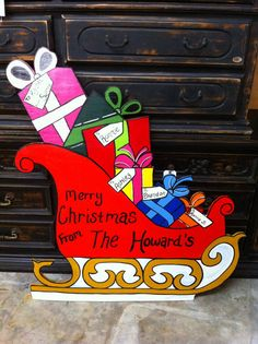 Christmas Sleigh Holiday Wooden  Yard Art Personalized Packages and Sled