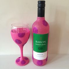 Glitter Wine Bottle With Glitter Glass #hotpink #polkadots