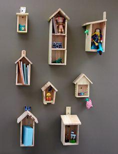 Bird house shelves- cute for kid's room!