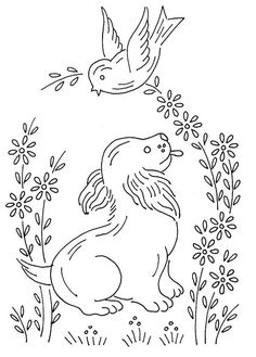 Paper Embroidery Patterns birds and dog 0664 Paper Embroidery, Embroidery Transfers, Hand Embroidery Patterns, Vintage Embroidery, Embroidery Applique, Cross Stitch Embroidery, Machine Embroidery, Embroidery Sampler, Sewing Crafts
