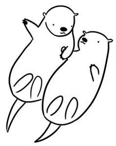 Lovely Otter Coloring Pages. Otter is a semi-aquatic animal that is good at swimming. So you can be sure that the staple food of this animal is fish. At this time Otter began to b. Animal Coloring Pages, Colouring Pages, Coloring Pages For Kids, Kids Coloring, Otter Tattoo, Pug Tattoo, Holding Hands Drawing, Otters Holding Hands, Baby Sea Otters