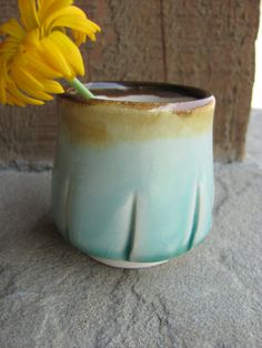 Little Espresso Cup in Crackly Aqua Blue by ShadyGrovePottery