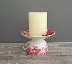 Simply GLUE the cup to the saucer for a nice Candle Holder. A GREAT way to use Old or Chipped China... haven't any ??  The THRIFT STORES are full  of them.  I love how the cup handle automatically becomes a handle for the carrying of a candle too. Nice !