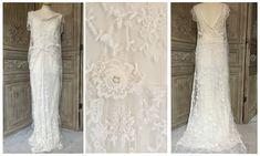 Vintage Lace Wedding Dress 'French Tambour' D8695 £1795 #weddinginspiration #weddingdress #bride #bridetobe #antiquelace #vintagelace