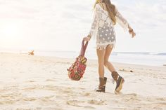 Hand crocheted dress and gypsy Wanderer tote - so good!