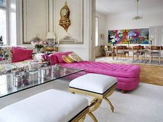 interior design: upholstered pink silk chaise lounge, gold x bench ottomans, glass coffee table (gg) Elle Decor, Style At Home, Home Living, Living Spaces, Living Rooms, Home Deco, Room Inspiration, Interior Inspiration, Modern Floor Plans