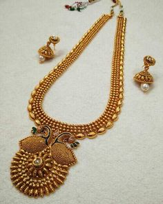 Beautiful Peacock Long Necklace Set