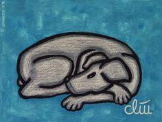JACQUELINE DITT- Hund auf blauem Grund dog Hunde Bilder 61x84 cm Poster art Tier
