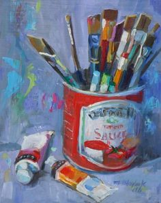 SAUCY BRUSHES WITH OIL, painting by artist Elizabeth Blaylock