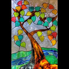 This would be pretty in watercolor Stained Glass Tree Window Stained Glass Church, Stained Glass Paint, Stained Glass Designs, Stained Glass Panels, Stained Glass Projects, Stained Glass Patterns, Mosaic Art, Mosaic Glass, Glass Art