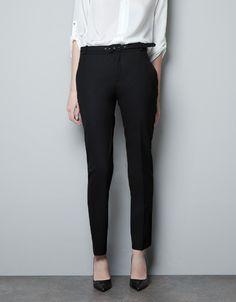 BELTED WOOL TROUSERS - Trousers - Woman - ZARA