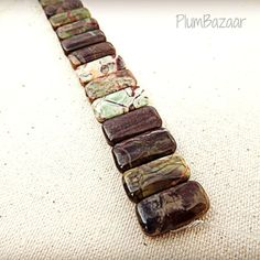 Doubled drilled beads Rainforest Agate double hole by PlumBazaar, $13.00