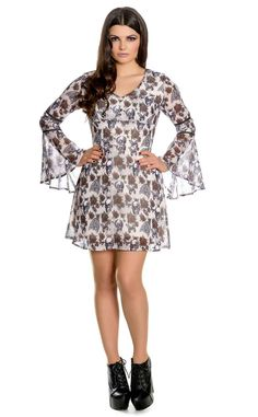 Spin Doctor Griselda Mini Dress    The beautiful Griselda mini dress from Spin Doctor features a stunning floral skull print. Perfect for adding a subtle touch of macabre to your Summer wardrobe, this chiff...
