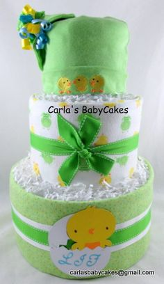 Neutral baby diaper cake - Customer request Duck and frogs diaper cake.  Bring your ideas and lets make it happen!