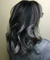 silver hair highlights dark - highlights silver - New 838654761845144347 Silver Hair Highlights, Dark Highlights, Black Hair With Grey Highlights, Balayage Hair, Ombre Hair, Hair Color Dark, Blue Grey Hair, Weave Hairstyles, Dyed Hair