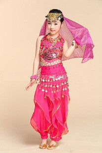Fully hand-made sew 3PCS Kids Belly Dance Costume belly dance skirt children Dancing clothes Set Indian dress