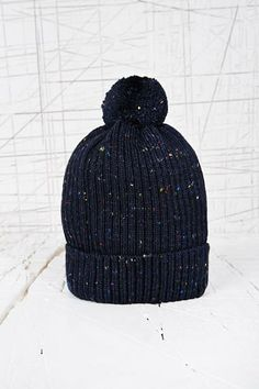 Nepped Bobble Beanie Hat in Navy at Urban Outfitters