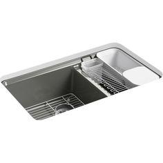 Kohler K 8669 5UA3 0 Riverby White Undermount Double Bowl Kitchen Sinks |
