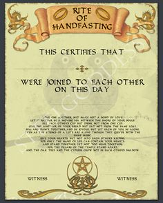 Brides Handfastings Weddings:  Handfasting Certificate.