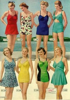 1948 vintage fashion style bathing suits late to blue red green black skirt one piece color photo print ad models magazine catalogue - Women Swimsuit - Ideas of Women Swimsuit Vintage Bathing Suits, Vintage Swimsuits, Women Swimsuits, Retro Swimwear, Modest Swimsuits, Moda Retro, Moda Vintage, 1940s Fashion, Vintage Fashion