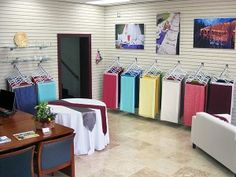 New Bellingham store open today! Table Linen Rentals, Tablecloth Rental, Showroom Design, Showroom Ideas, Interior Design, Party Canopy, Boutique Decor, Linen Storage, Diy Garden Decor