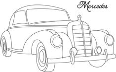 Line Drawing of old cars | Classic Muscle Car Coloring Page - Classic Car Coloring Pages : iKids ...