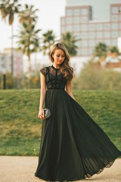 maxi dress in black lace