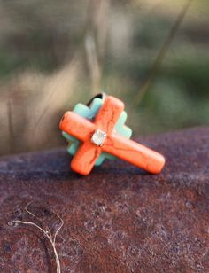 Southwestern Native Cowgirl Coral and Turquoise Cross Rhinestone Ring.