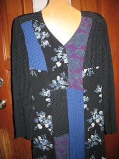 VTG CAROLE LITTLE DRESS black blue patchwork S mixed shirtdress midi maxi…
