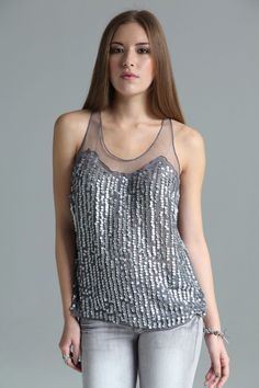 Boutique Millie Georgette Drop Sequin Front Sleeveless Top at boohoo.com #boohooboutique